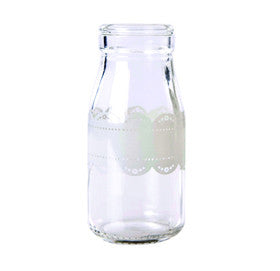Traditional Glass Milk Doily Bottle - Lemonade Occasions