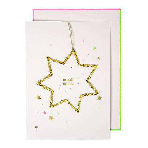 Twinkle Twinkle Gold Glitter Star Christmas Card - Lemonade Occasions