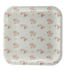 White Floral Square Plate - Lemonade Occasions