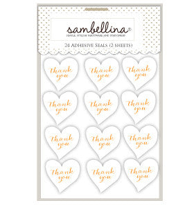 White Heart Stickers with Gold Stamp - Lemonade Occasions