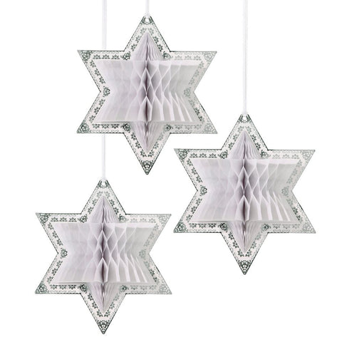 White and Silver Honeycomb Stars - Lemonade Occasions
