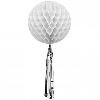 White Honeycomb Ball with a Silver Metallic Tassel - Lemonade Occasions