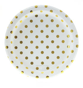 White with Gold Foil Polkadot Party Plates - Lemonade Occasions