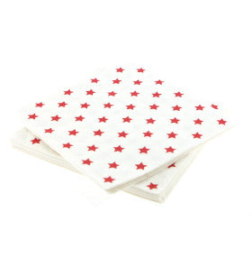 White with Red Star Paper Napkins - Lemonade Occasions