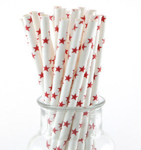 White with Red Star Straws - Lemonade Occasions