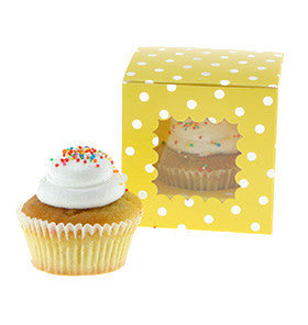 Yellow Polkadot Individual Cupcake Boxes (Pack of 6) - Lemonade Occasions