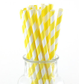 Yellow Striped Paper Straws - Lemonade Occasions