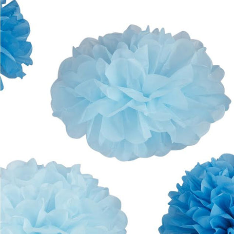 Tissue Paper Pom Poms in Baby and Dark Blue - Lemonade Occasions