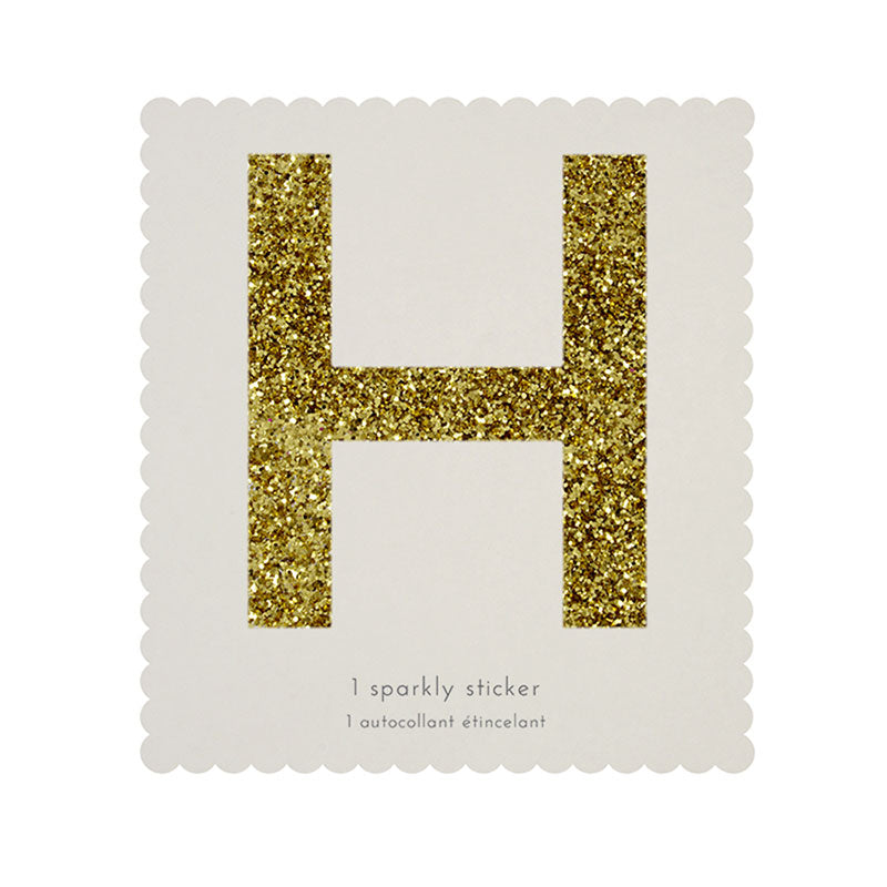 Chunky Gold Glitter H Sticker