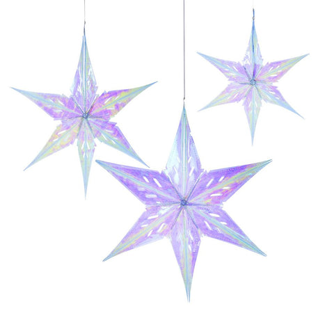 Iridescent Hanging Star Decorations - Talking Tables