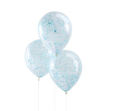 Blue Confetti Filled Balloons - Lemonade Occasions