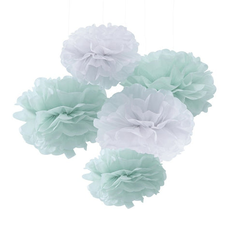 Mint and White Tissue Paper Pom Poms - Lemonade Occasions