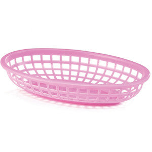 Pink Plastic Oval Food Baskets - Lemonade Occasions