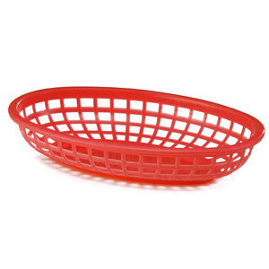 Red Plastic Oval Food Baskets - Lemonade Occasions