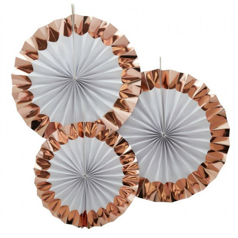 White and Rose Gold Paper Fans - Lemonade Occasions