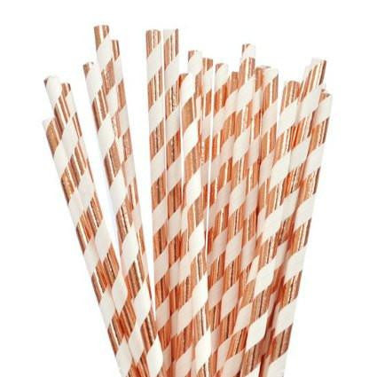 Rose Gold Striped Paper Straws - Lemonade Occasions