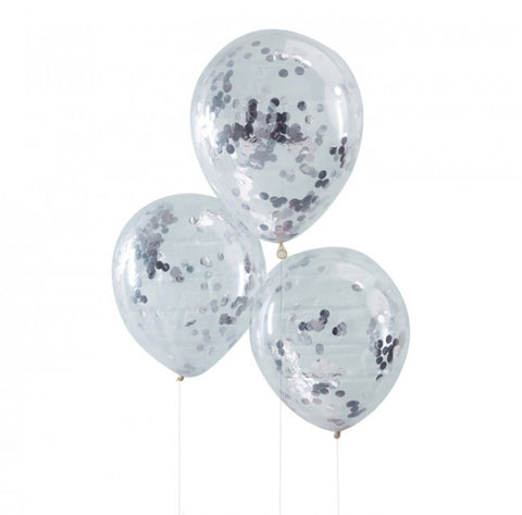 Silver Confetti Filled Balloons - Lemonade Occasions