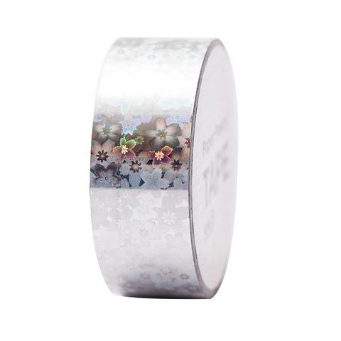 silver flower holographic tape