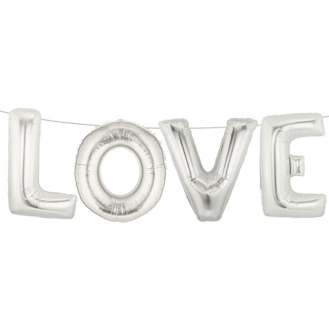 LOVE Silver Foil Script Balloon - Lemonade Occasions
