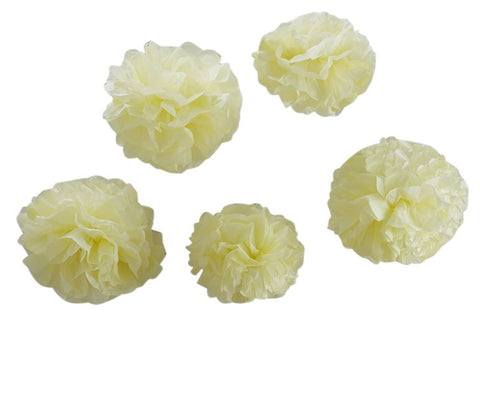Pastel Yellow Tissue Paper Pom Poms - Lemonade Occasions