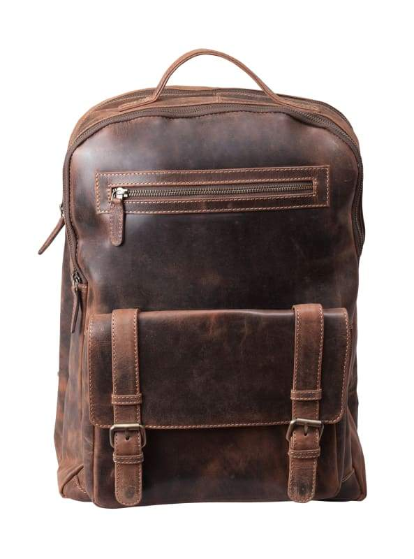 "Backpack Leather Mens – Chestnut Brown Leather Laptop Bag –  Padded Compartment for 15"" Laptop - Bayfield Bags"