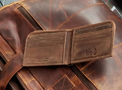 Leather Mens Wallet–Bifold Leather Mens Wallet–RFID Mens Wallet-Slim Front Pocket Style - Bayfield Bags