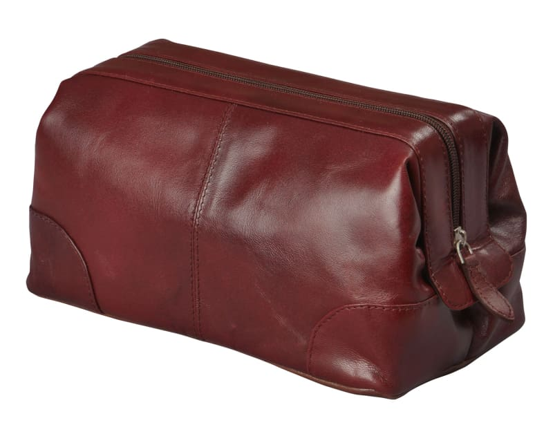 Mens Toiletry Bag Dopp Kit-Glossy Leather Vintage Men's Shave Kit Travel & Medicine Bag (10x5x5) - Allendales