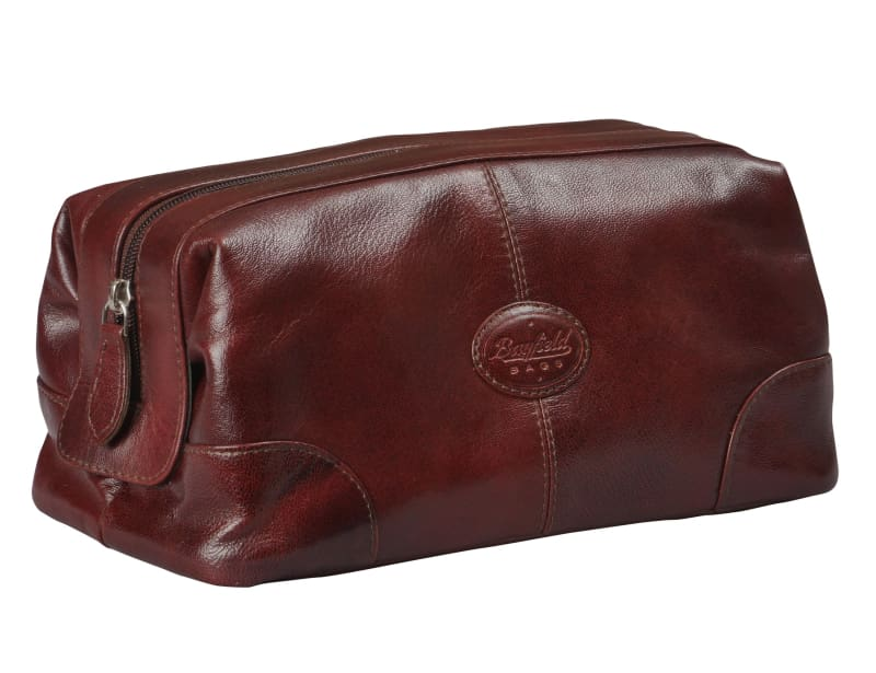 Mens Toiletry Bag Dopp Kit-Glossy Leather Vintage Men's Shave Kit Travel & Medicine Bag (10x5x5) - Bayfield Bags
