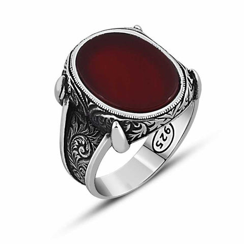 925 Silver Agate Stone Ring-102000303 - oneclickcrazydeals