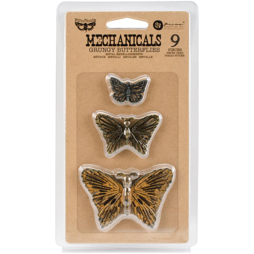 Finnabair Mechanicals Metal Embellishments Grungy Butterflies