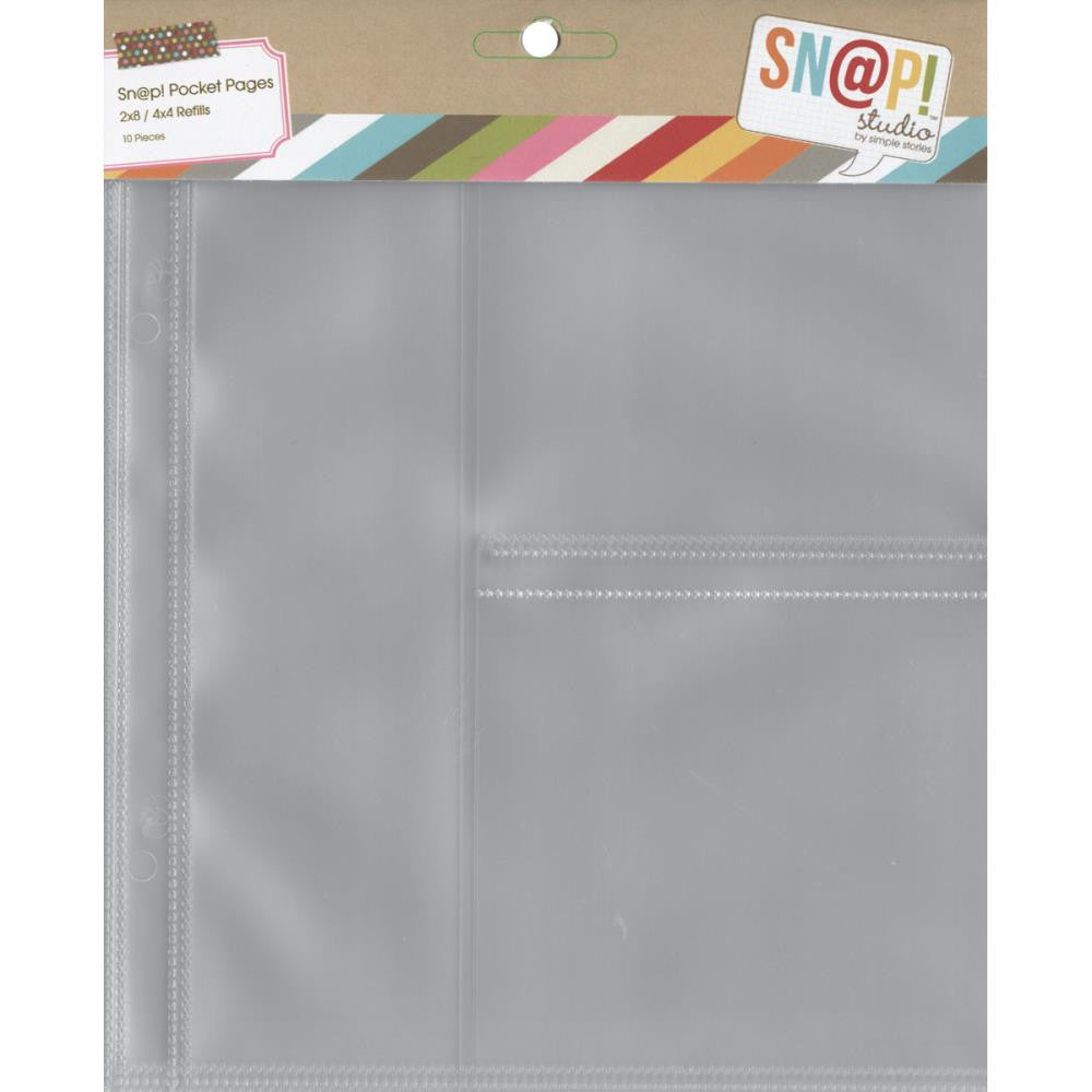 "Simple Stories SN@P! Pocket Pages for 6""X8"" Binders - Size 2""X8"" & (2) 4""X4"" Pockets"