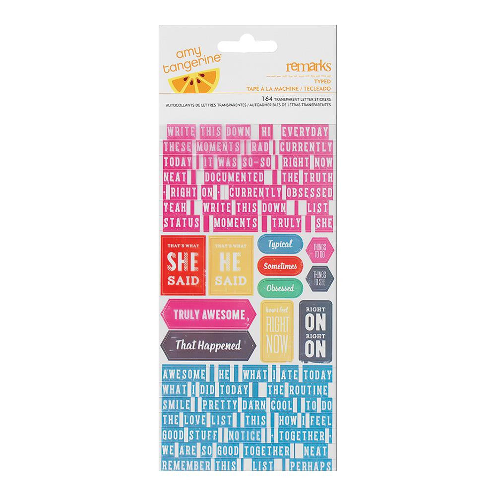 American Crafts Amy Tangerine Cut n Paste Remarks Tiny Alpha Cardstock Stickers Book - Scrap Of Your Life