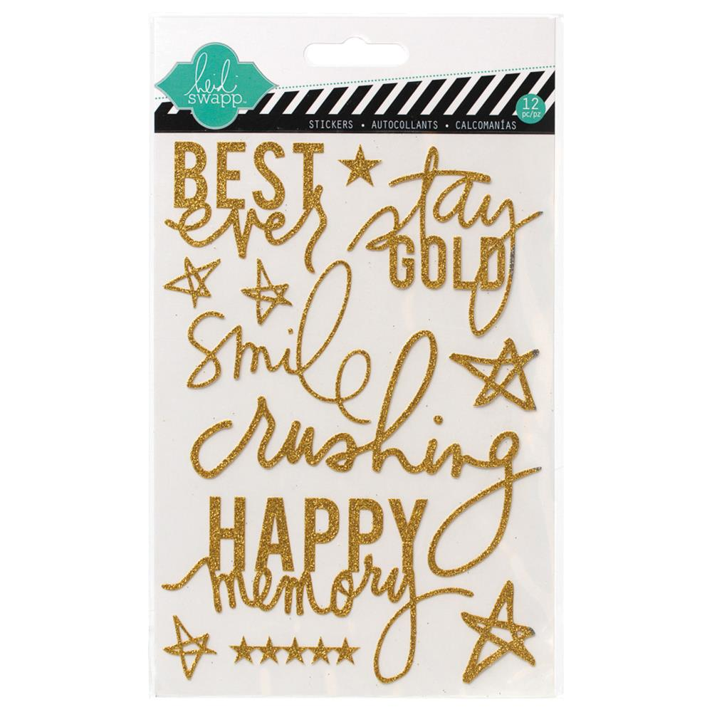 "Heidi Swapp Glitter Stickers 5""X7"" Gold - Scrap Of Your Life"