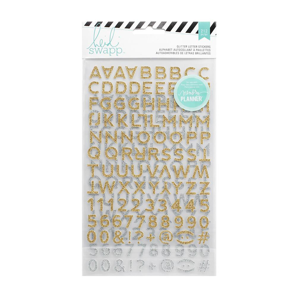 Heidi Swapp Hello Beautiful Glitter Stickers Gold and Silver Alpha