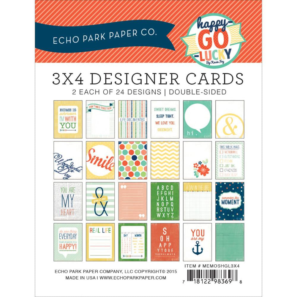 Echo Park Sunshine 3 x 4  Designer Cards Happy Go Lucky