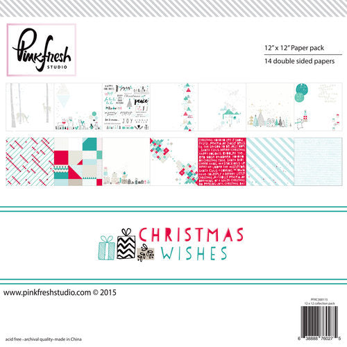 Pinkfresh Christmas Wishes 12 x 12 Paper Pad