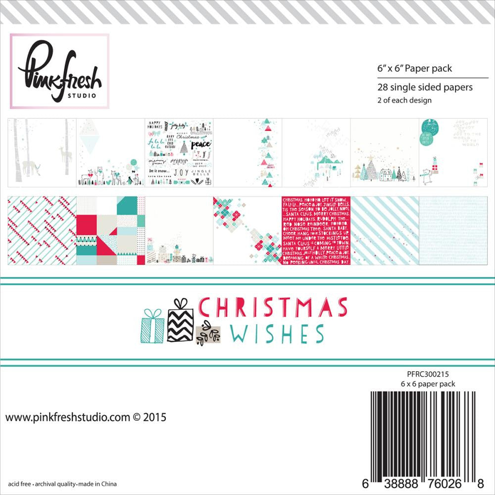 Pink Fresh Christmas Wishes 6 x 6 Paper Pad