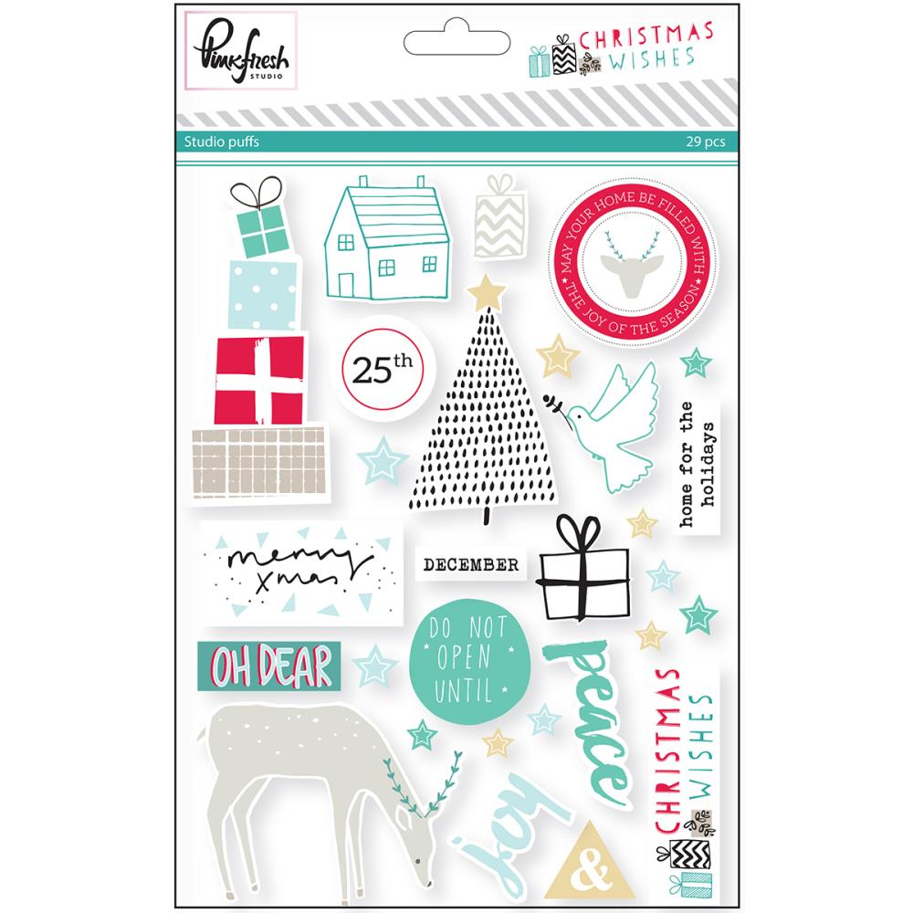 Pink Fresh Christmas Wishes Puffy Stickers - Scrap Of Your Life