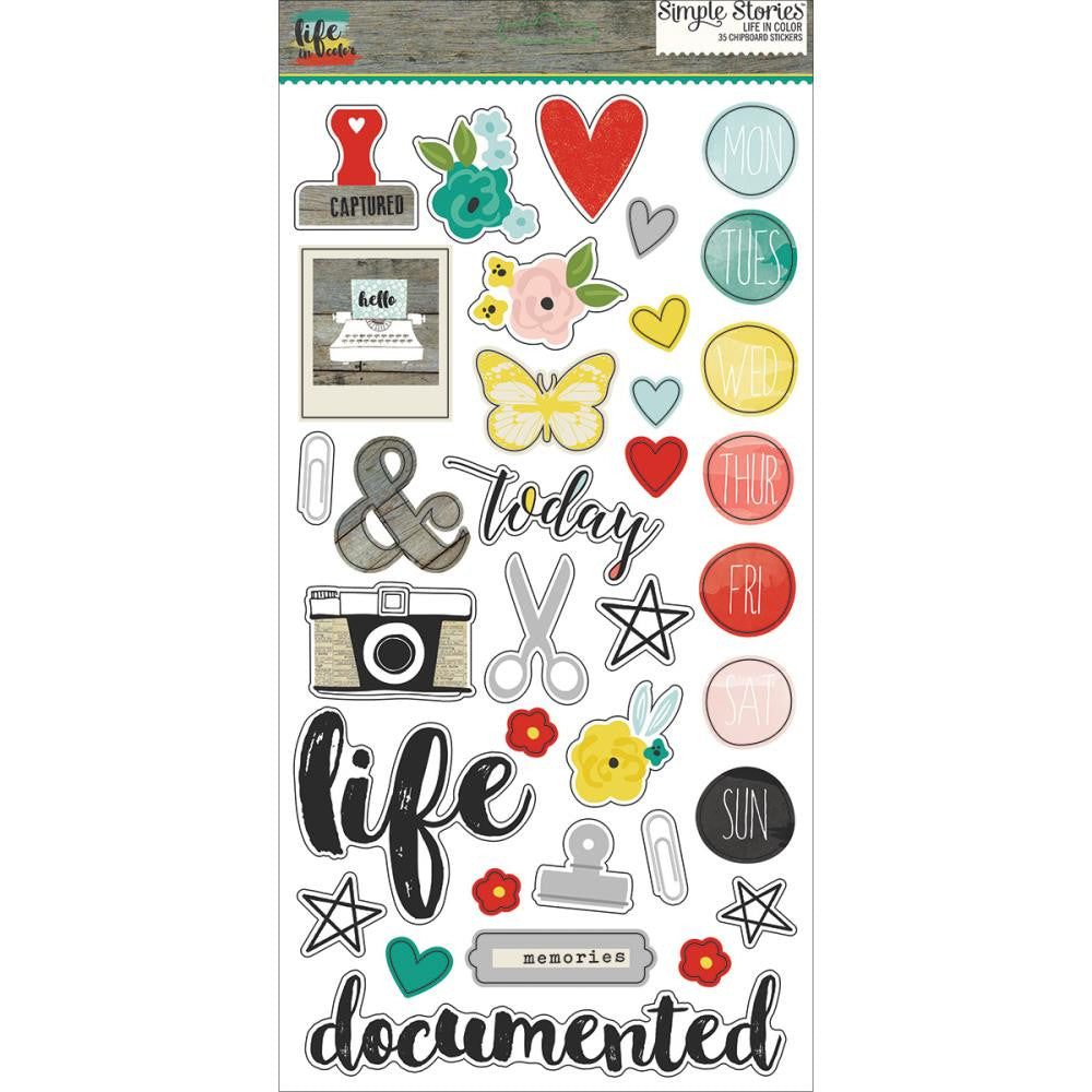 Simple Stories Life in Colour Chipboard Stickers