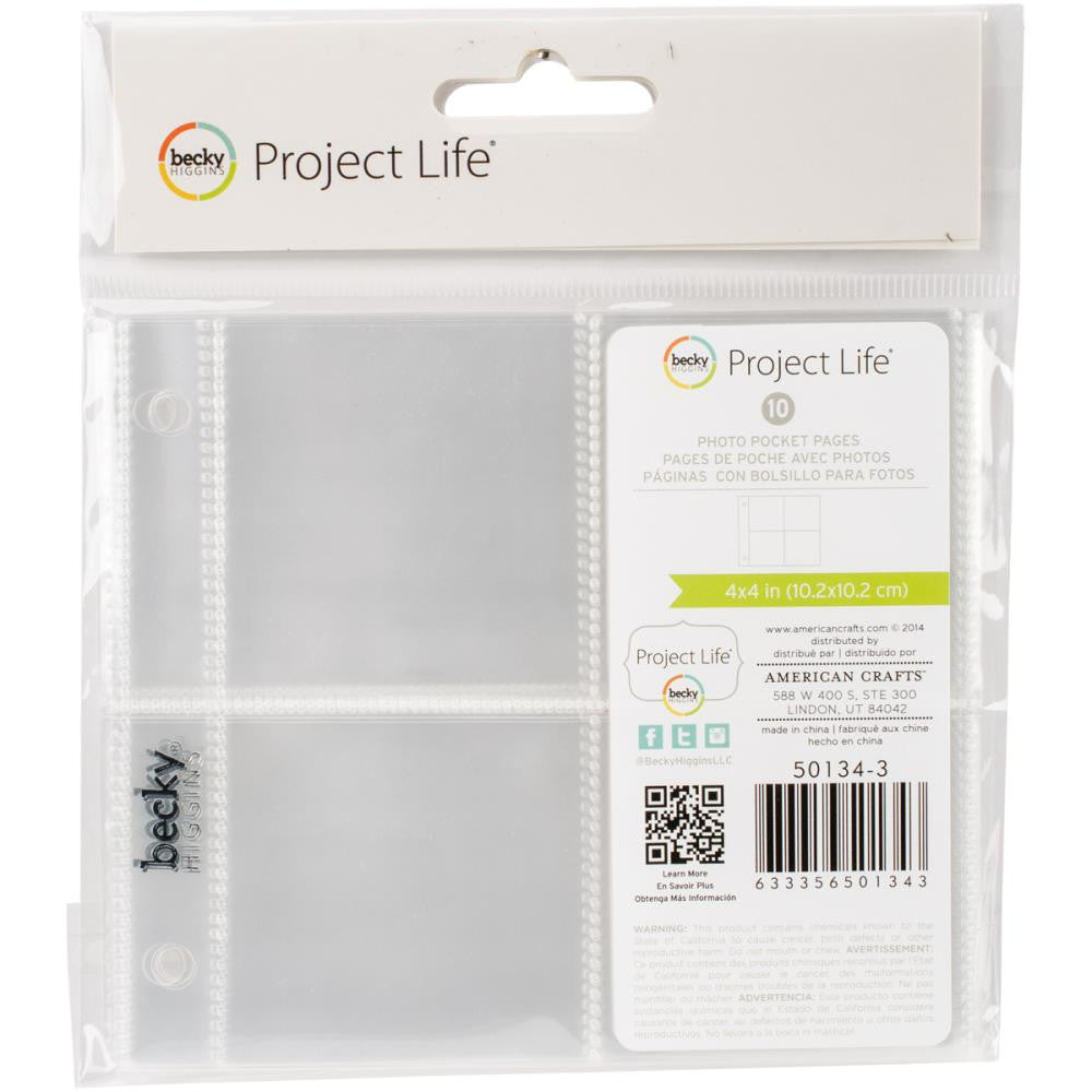 "Project Life Ring Photo Sleeves 4""X4"" Sleeves - Four 2""X2"" Pockets"