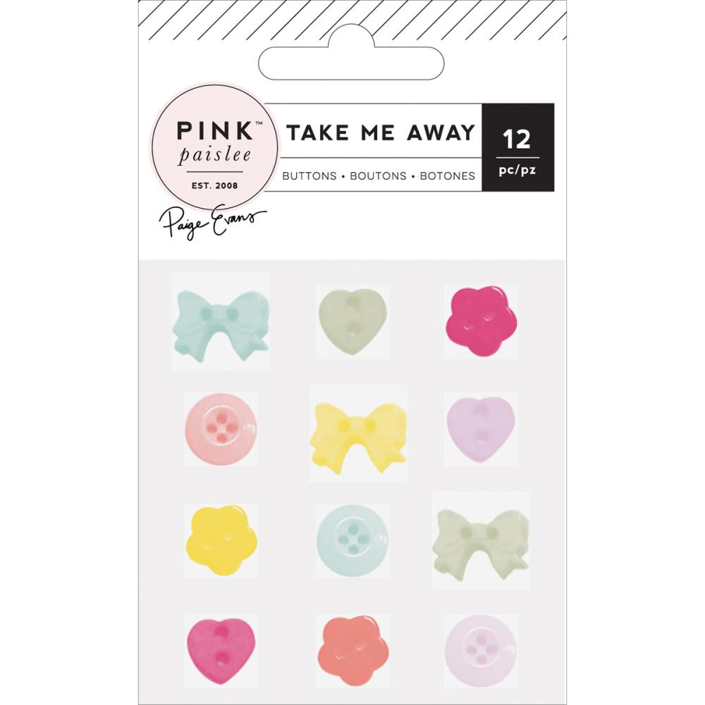 Pink Paislee Take Me Away Plastic Buttons - Scrap Of Your Life