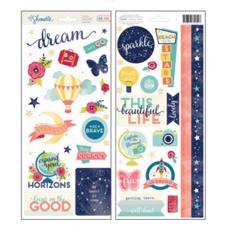 "American Crafts Shimelle Starshine 6""x12"" Accent & Phrases - Scrap Of Your Life"