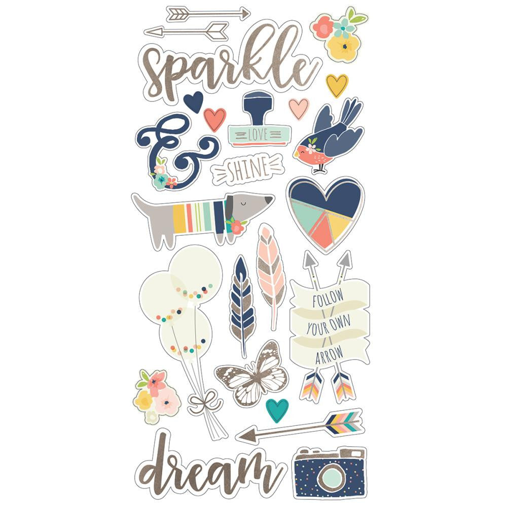 Simple Stories Posh Self Chipboard Stickers