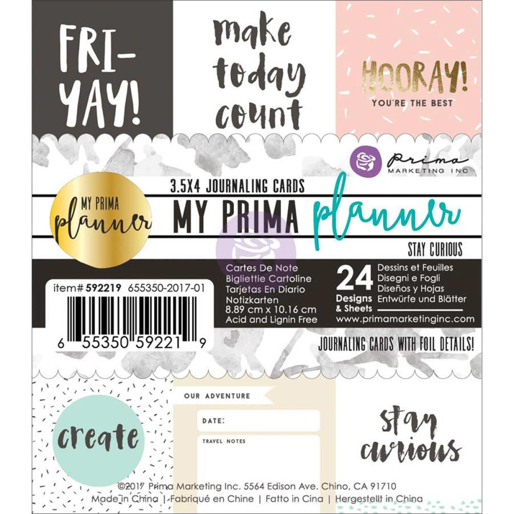 Prima Planner Journalling Cards Stay Curious 4 x 4 inch cards with inspirational quotes and sayings