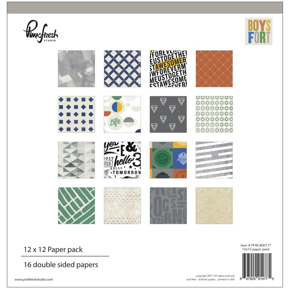 PinkFresh - Boys Fort - 12 x 12 Collection Pack - Scrap Of Your Life