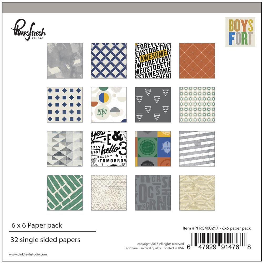 Pinkfresh Studio Boys Fort 6 x 6 Paper Pad - Scrap Of Your Life