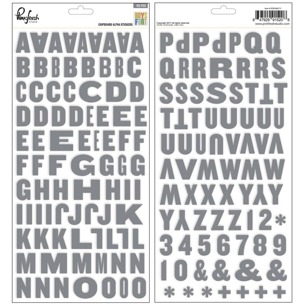 PinkFresh - Boys Fort - Chipboard Alphabet Stickers - Scrap Of Your Life