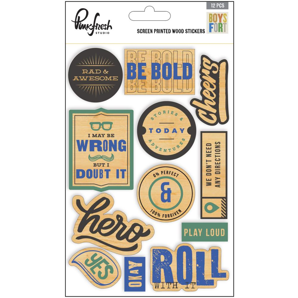 Pinkfresh Studio Boys Fort Screen Printed Wood Stickers - Scrap Of Your Life