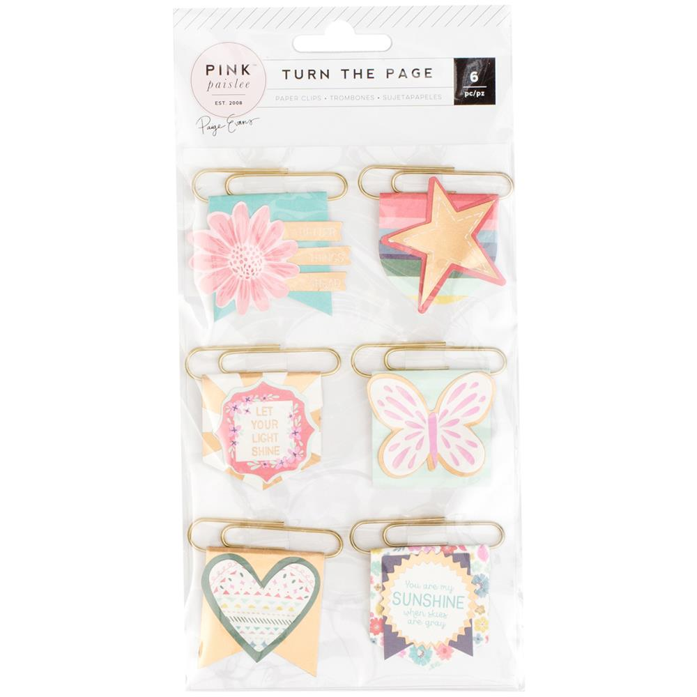Pink Paislee Turn The Page Pennant Paper Clips - Scrap Of Your Life