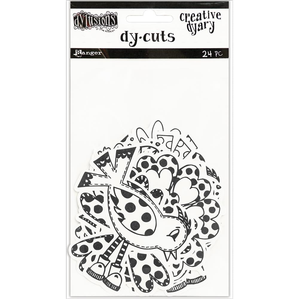 Dylusions Creative Dyary Die Cuts Black & White Birds & Flowers - Scrap Of Your Life